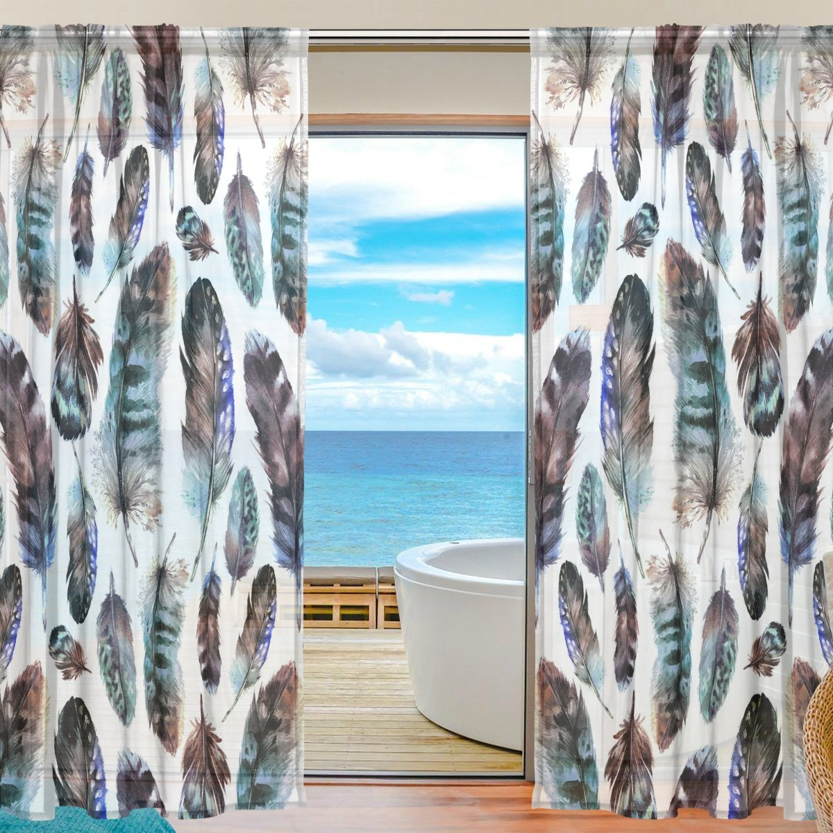 SEULIFE Window Sheer Curtain, Tribal Ethnic Boho Animal Bird Feathers Voile Curtain Drapes for Door Kitchen Living Room Bedroom 55x84 inches 2 Panels