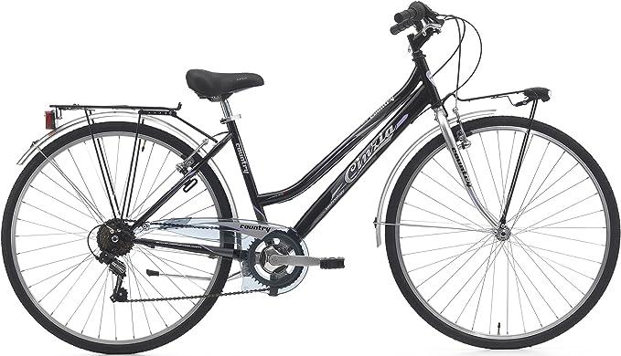 Bicicleta Country Mujer ciclos Cinzia, Negro Mate/Plateado: Amazon ...