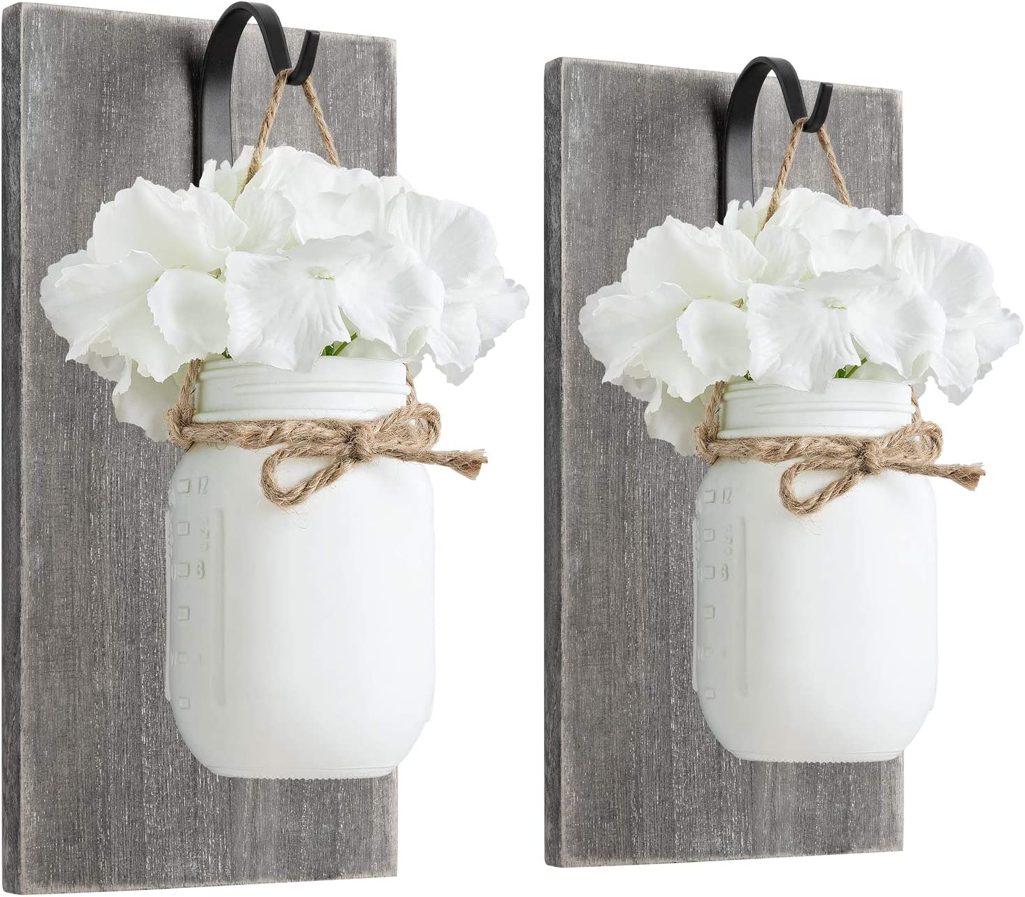 Mkono Mason Jar Sconces Wall Decor Rustic Wall Sconces Set Wood Boards with Flower Mason Jar Wall Art Farmhouse Home Fall Wall Decor Set of 2, White
