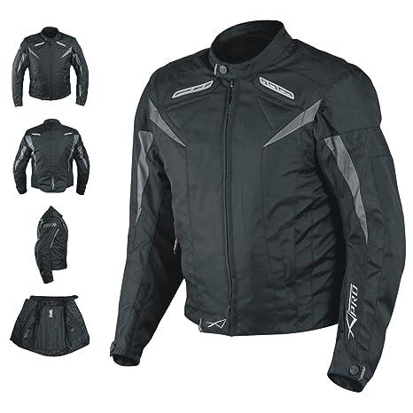 A-pro Moto CE Protections Textile Blouson Manchon D/émontable Gilet Termique noir XL