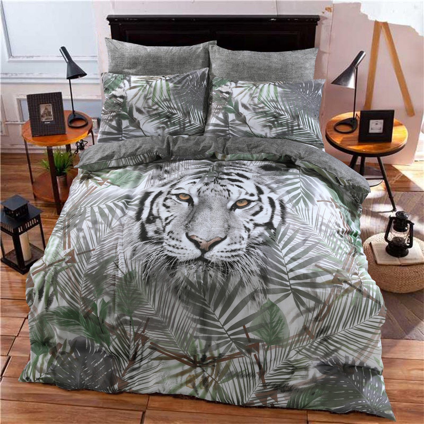 PIERIDAE Daytime Pug Animal Print 3D Design Duvet Cover Quilt Bedding Set with Pillowcases (Double)