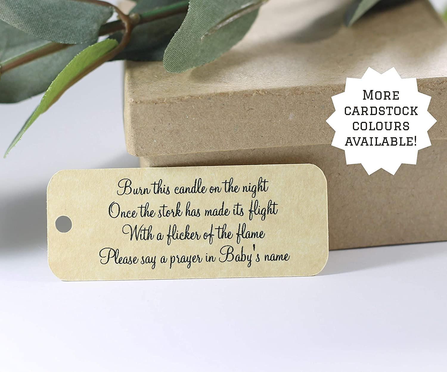 Set of 20 Candle Gift Tags Antique Gold Baby Shower Favor Tags