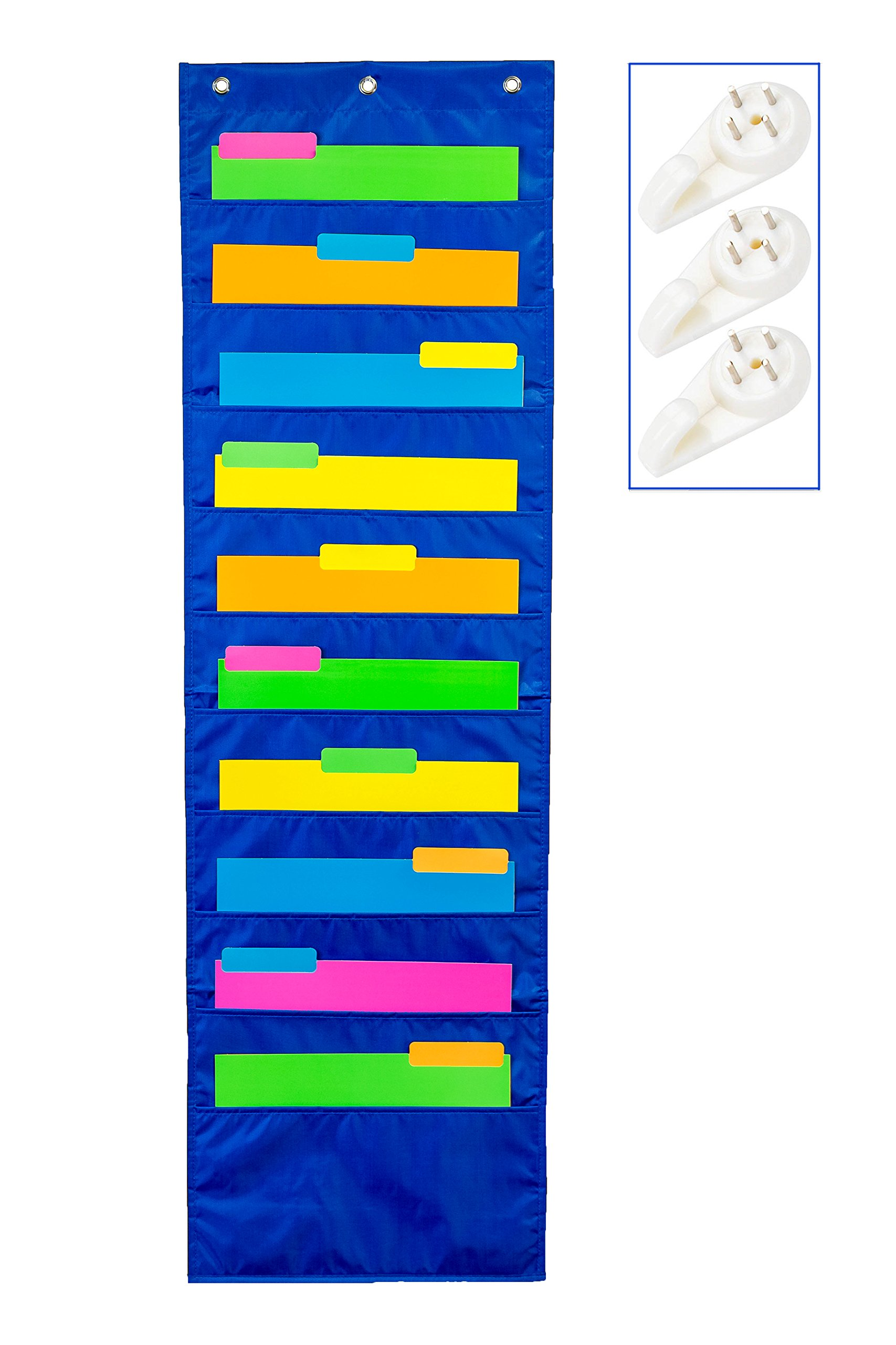 School Savings Hanging Document Organizer (Blue) – 10 Large Wall Pockets for Important Home, School or Office Paperwork, Letters or Files – Essential Work Supplies by School Savings (Image #1)
