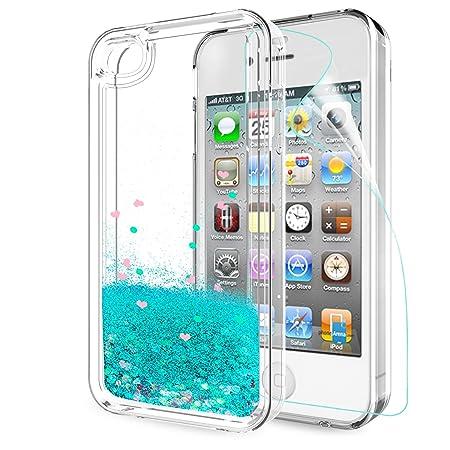 LeYi Hülle iPhone 4 / iPhone 4S Glitzer Handyhülle mit HD Folie Schutzfolie,Cover TPU Bumper Silikon Flüssigkeit Treibsand Cl