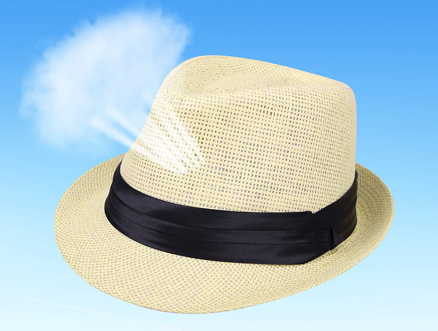 7acacf1280242e Amazon.com: Kids Fedora Hats Boys Straw Sun Hats for Kids with Black Band  Accent Beige: Clothing