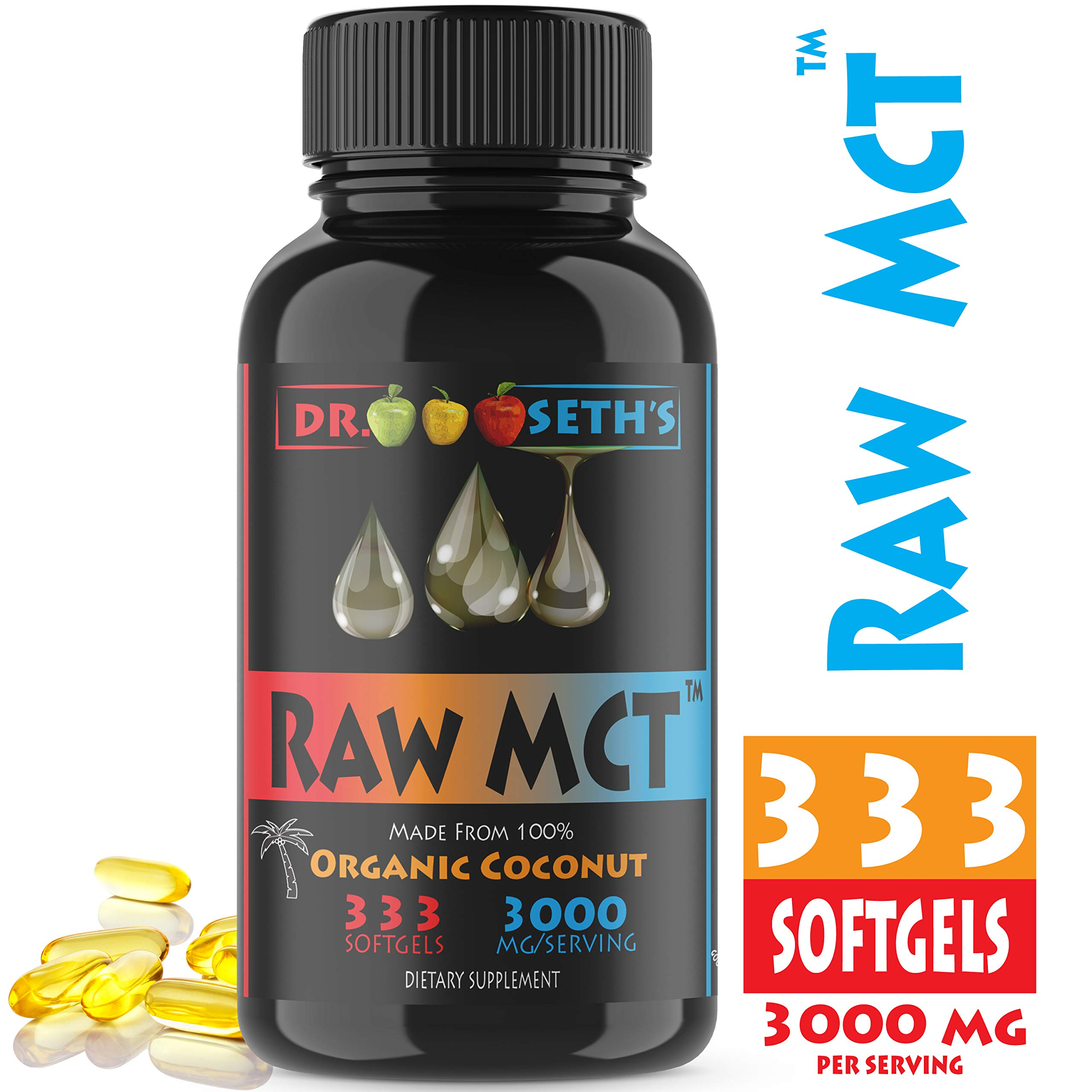 Premium MCT Oil Capsules, 333 Count, derived from 100% Organic Non-GMO Coconuts - 3000 mg Premium MCT Oil ~ Great in Keto Coffee, Tea, MCT Oil Organic ~ Keto MCT Oil -C8 MCT Oil