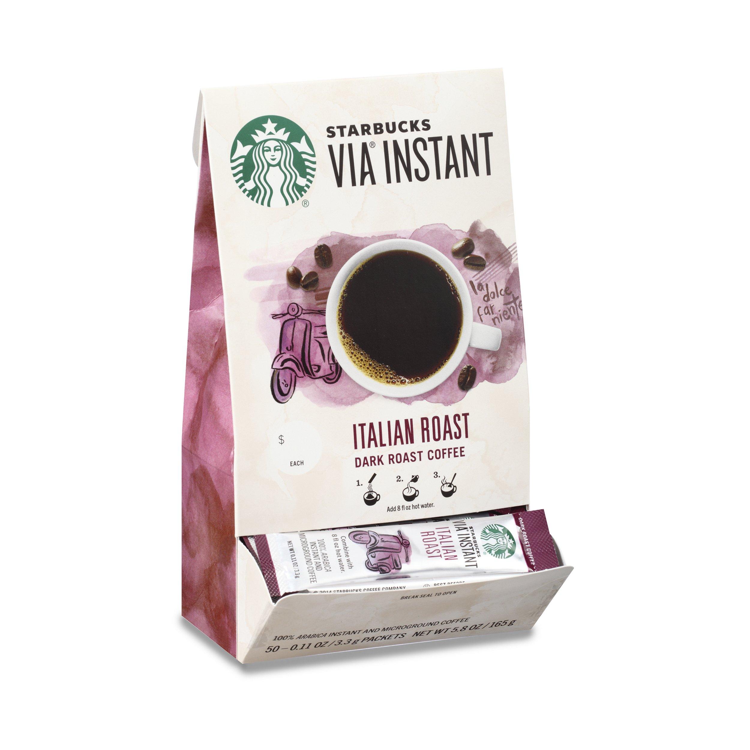 Starbucks VIA Instant Italian Roast Dark Roast Coffee (1 box of 50 packets)