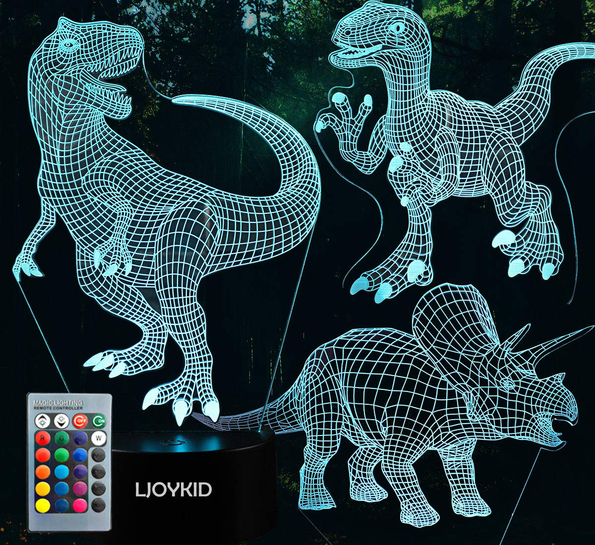 3D Dinosaur Night Light - 3D Illusion Lamp Three Pattern and 7 Color Change Decor Lamp with Remote Control for Kids, Dinosaur Gifts for Boys