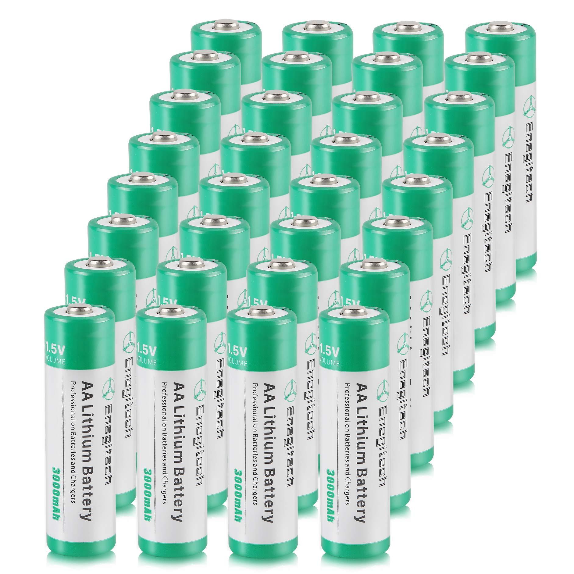 AA Lithium Battery 32 Pack, Enegitech 3000mAh 1.5V Double A Long-lasing Li Ion Battery Non-Rechargeable Flashlight Solar Lights Remote Control by Enegitech