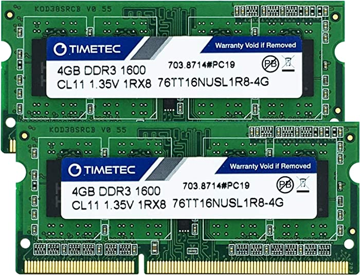 Timetec Hynix IC 8GB Kit (2x4GB) DDR3L 1600MHz PC3-12800 Non ECC Unbuffered 1.35V CL11 1Rx8 Single Rank 204 Pin SODIMM Laptop Notebook Memory Ram Module Upgrade 8GB Kit (2x4GB)