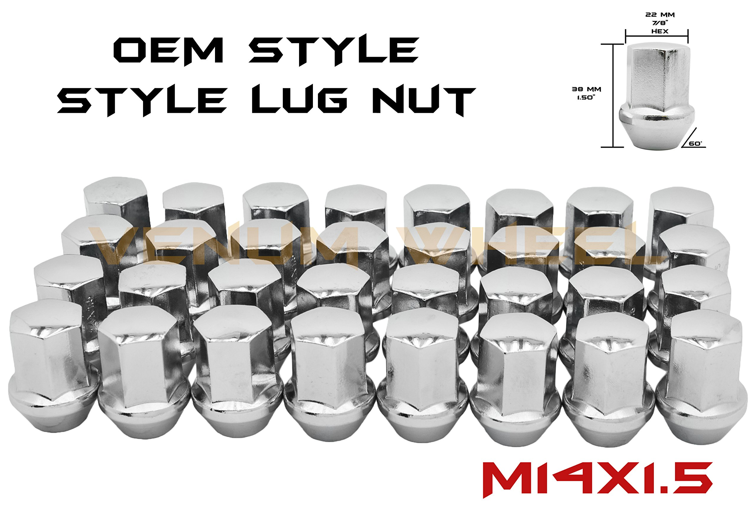 Venum wheel accessories 24 Pc Chrome OEM Style Factory Lug Nuts 2015-2018 F-150 Raptor 14x1.5 Thread Pitch | Fits Expedition & Navigator
