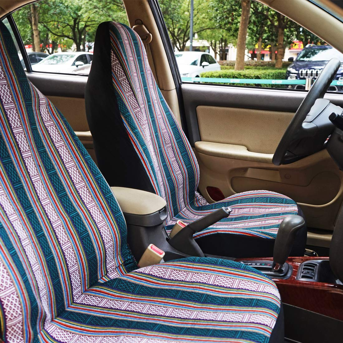 INFANZIA Baja Front Seat Covers Saddle Blanket Auto Seat Cover with Seat Belt Covers Fit Car Truck Van SUV Black /& White 4Pcs