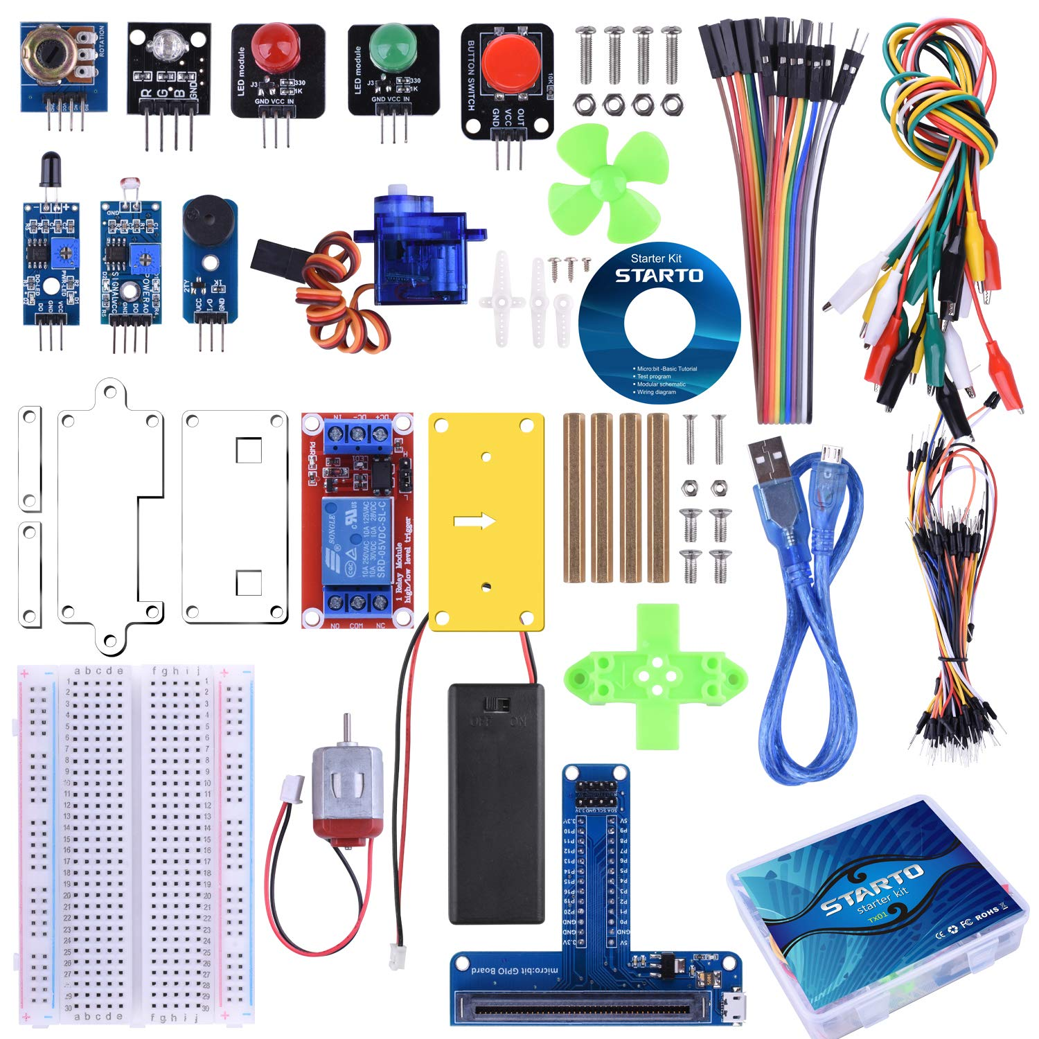STARTO Starter Kit for BBC Micro:bit, Basic Coding Kit Includes Sensor, Expansion Board, Servo, Relay, Acrylic Protective case and Free Tutorial for Microbit Beginners and Kids to Learn Electronics by STARTO