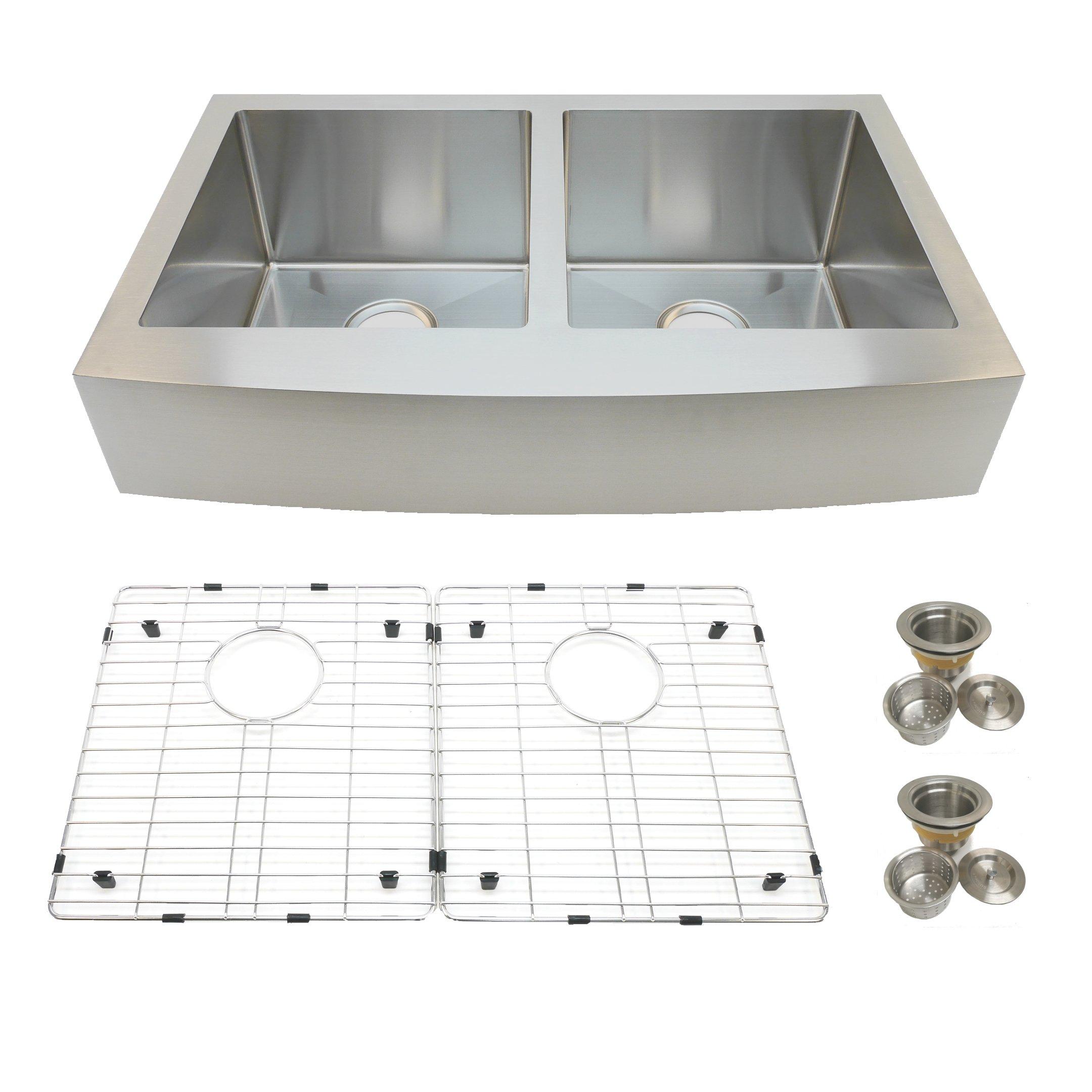 Auric Sinks 33'' Retro-fit Short 6'' Apron Farmhouse Curved Front Double 50/50 Bowl Sink, Premium 16-Gauge Stainless Steel, 6:SCAR-16-33-retro 5050