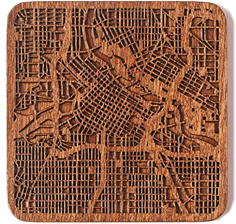 Multiple city optional Leeds map coaster IDEAL GIFTS Sapele wooden coaster with city map One piece
