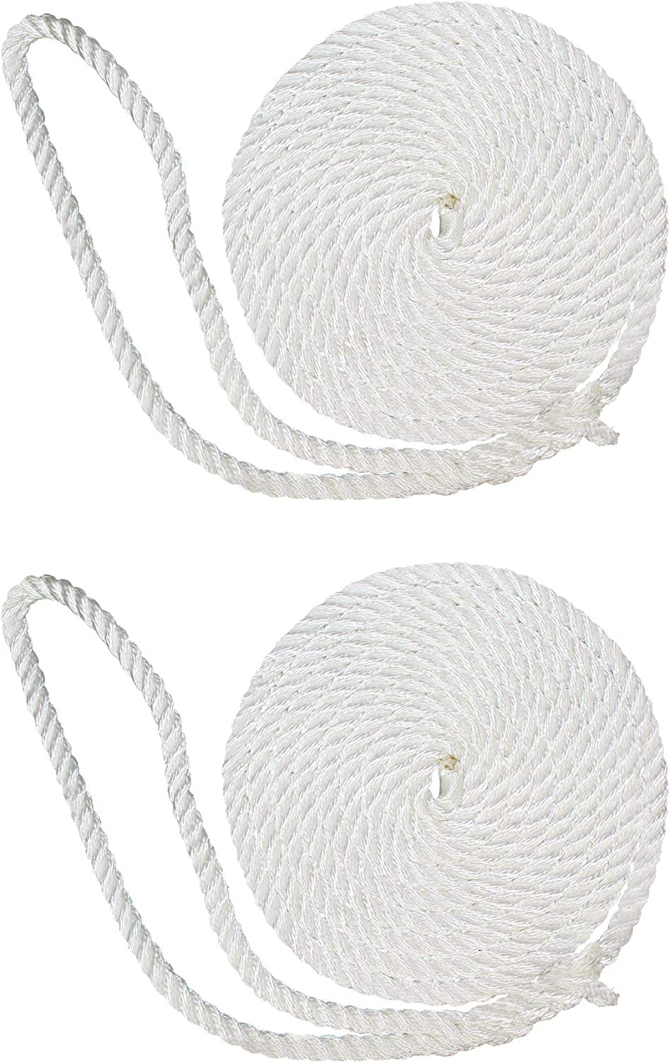 SGT KNOTS Twisted Nylon Dockline Dock Lines - 3-Strand Twist Nylon Rope Docklines Marine Ropes for Boat//Boats 2-Pack, White