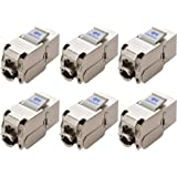 [UL Listed] Cable Matters (6-Pack) Cat 6A / Cat6A Shielded Metal RJ45 Keystone Jacks