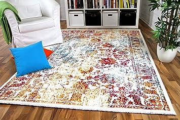 wohnzimmer designer gabbeh teppich vintage orient bunt trkis orange rot in 4 gren - Wohnzimmer Teppich Turkis