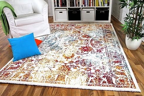 Wohnzimmer Designer Gabbeh Teppich Vintage Orient Bunt Türkis ...