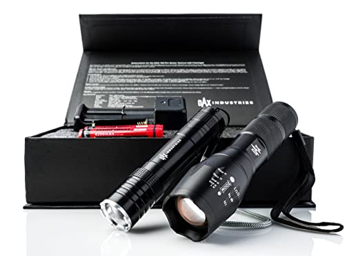 DAX Tactical Flashlight Kit: 2 Rechargeable Flashlights: 1200 Lumen LED Flashlights