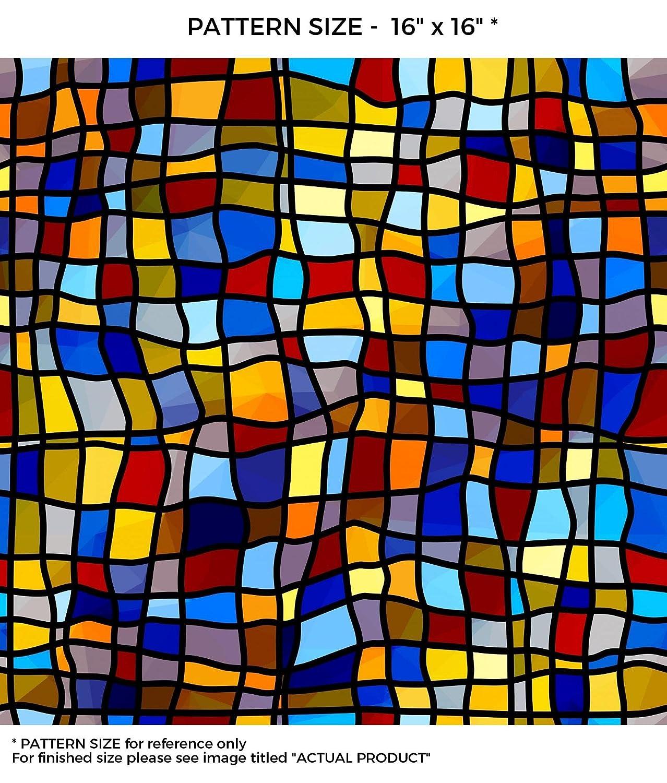 WindowPix 交響曲 ステンドグラス パターン 窓/ドア用フィルム プライバシーフィルム 非粘着 静電気フィルム つや消し ウィンドウフィルム 紫外線防止 省エネルギー 18x36 WF-18x36-WF31-1 B00UZE7UNQ 18x3618x36