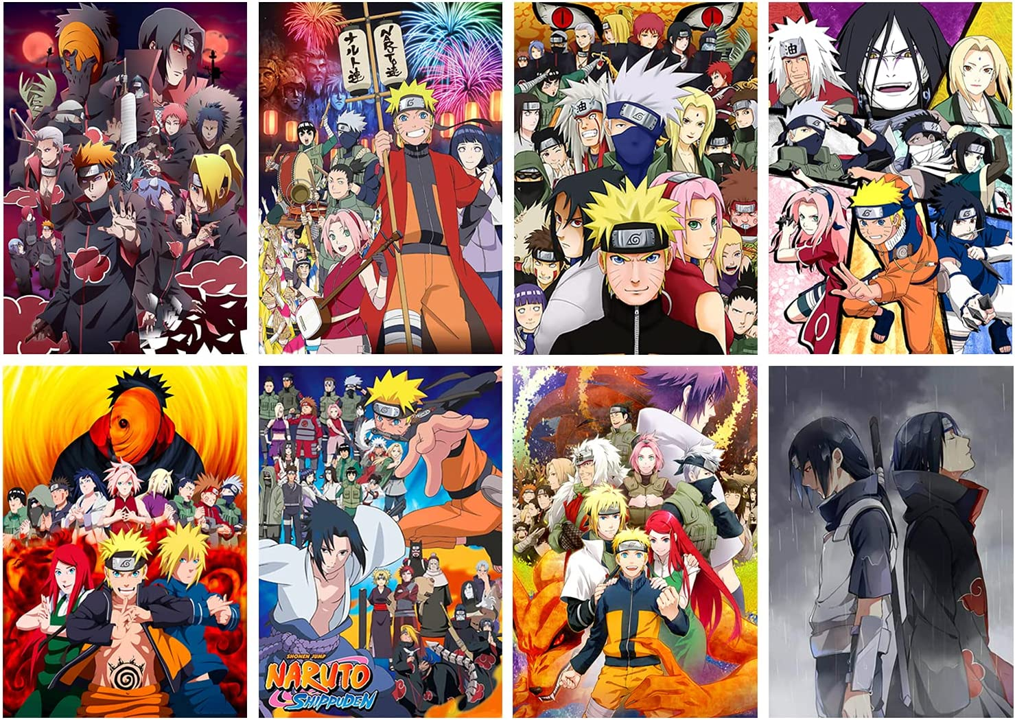 8PCS Anime Uch-iha Sas-uke Ita-chi Cool Posters Wall Art Painting For Home Room Decorations Wall Decor 11.5x16.5 Inches