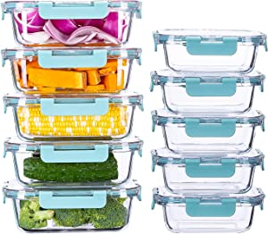 SUNNOW Vastto 10 Pack Glass Food Storage Containers with BPA Free Airtight Lids, Glass Meal Prep Containers,Airtight Glass Lunch Bento Boxes,for Kitchen and Home Use(Turquoise)