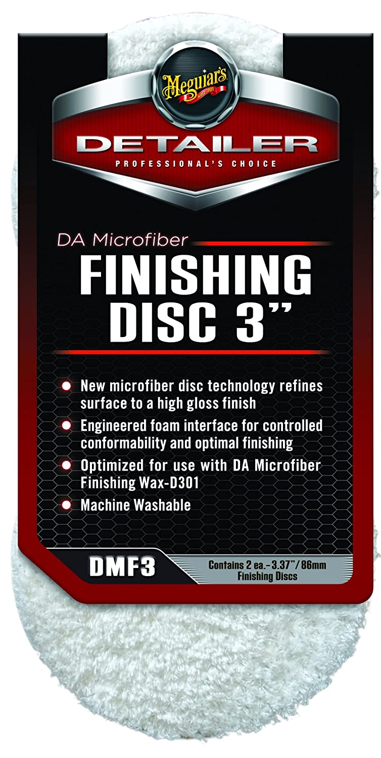 Meguiar's 3' DA Microfiber Finishing Disc – Microfiber Pad to Polish & Wax – DMF3, Pack of 2 Meguiar's