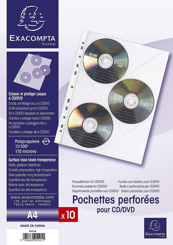 Exacompta 5521E - Bolsa de 10 fundas con multitaladros para CD y DVD, A4
