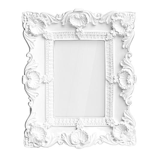 Premier Housewares Baroque Gloss Photo Frame - 4 X 6-Inch - White ...