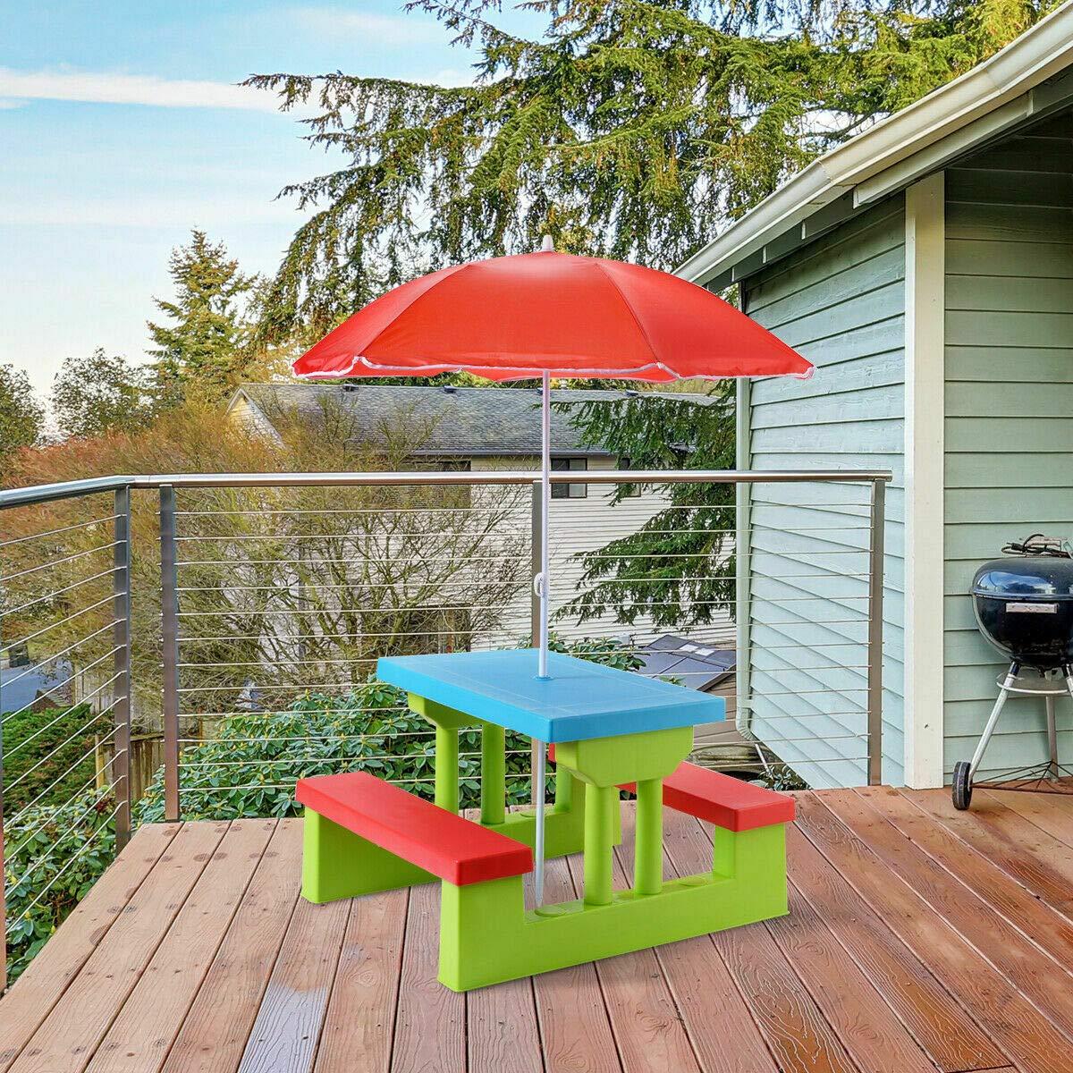 Antik shop 4 Seat Kids Picnic Table w/Umbrella Garden Yard Folding Children Bench Outdoor by Antik shop