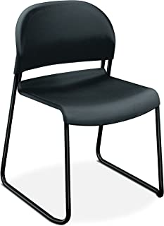 product image for HON Guest Stacker Chair, Charcoal with Black Finish Legs, 4 Per Carton