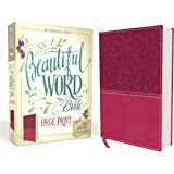 NIV, Beautiful Word Bible, Large Print, Leathersoft, Pink: 500 Full-Color Illustrated Verses
