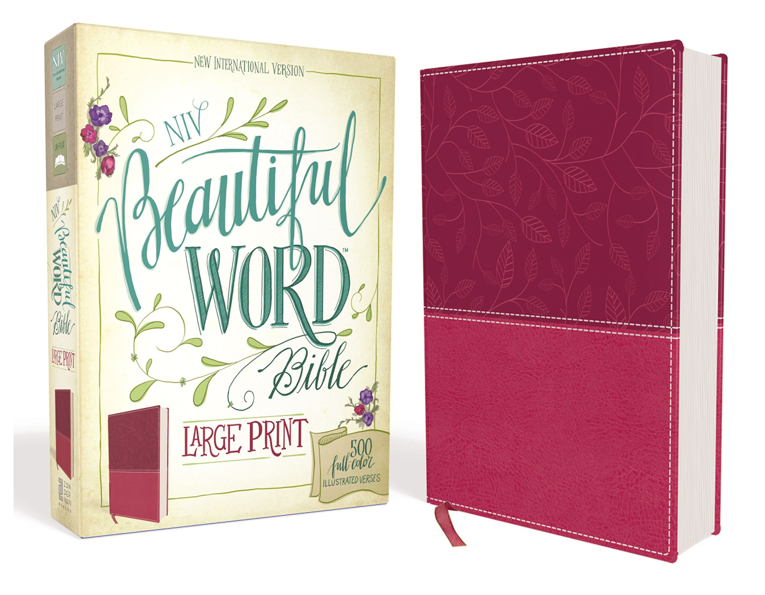 NIV, Beautiful Word Bible, Large Print, Leathersoft, Pink: 500 Full ...