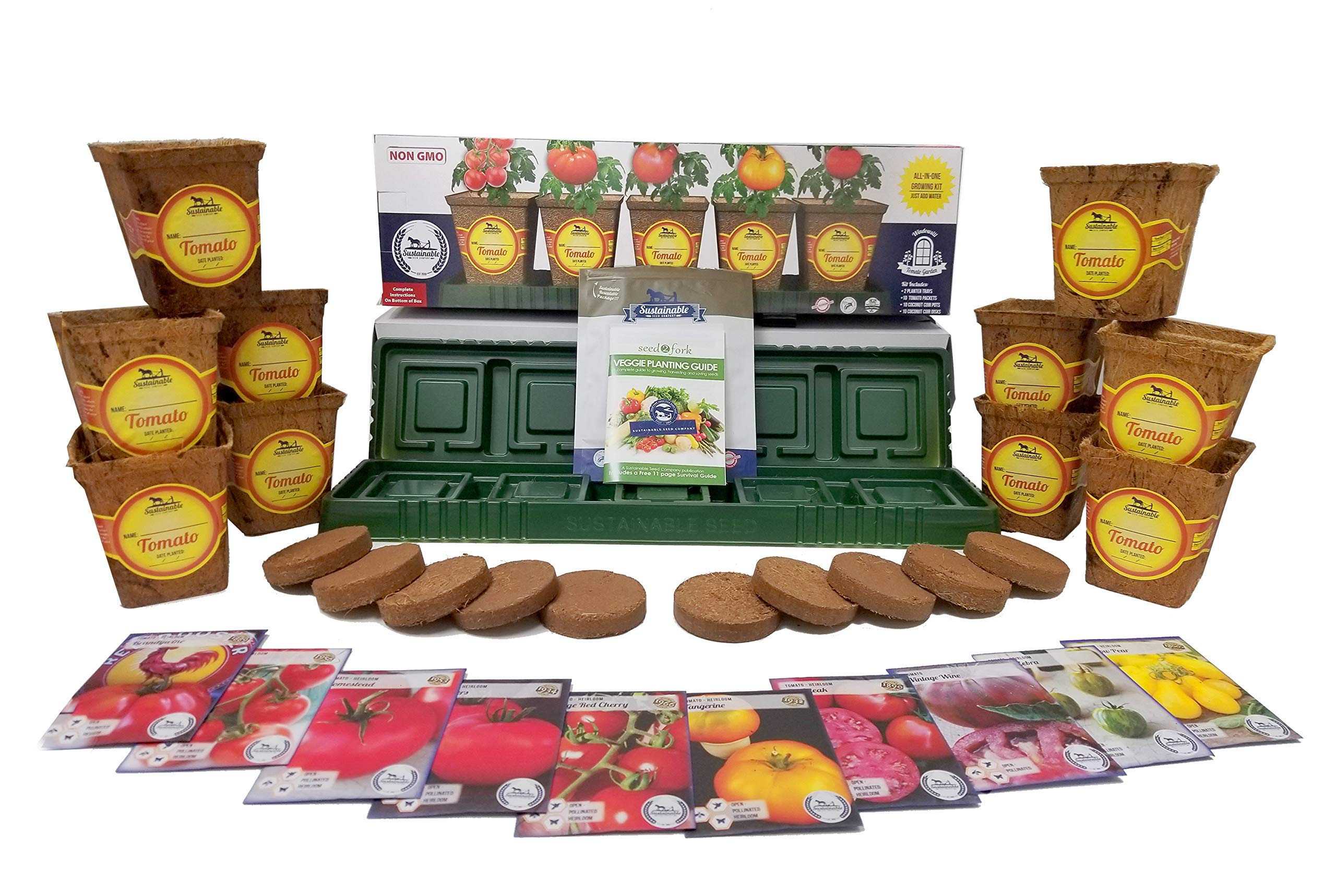 Windowsill Tomato Garden Kit, Tomato Planter Comes Complete with a 10 Variety Non GMO Heirloom Tomato Seed Collection & Tomato Pots by Sustainable Seed Company
