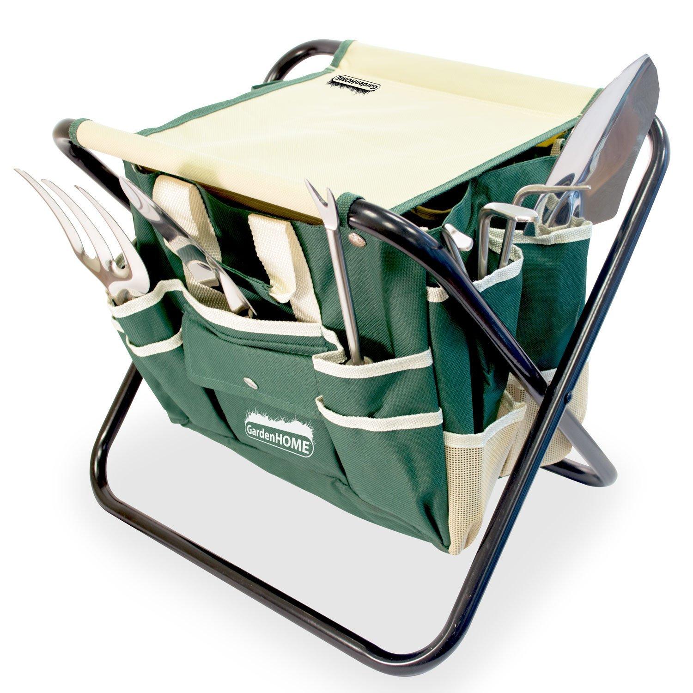 Gardenhome 7 Piece Ergonomic Garden Tool Set Includes Folding Stool Tool Bag .. 14