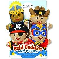 Melissa & Doug Bold Buddies Hand Puppets (Set of 4) - Knight, Pirate, Sheriff, and Superhero