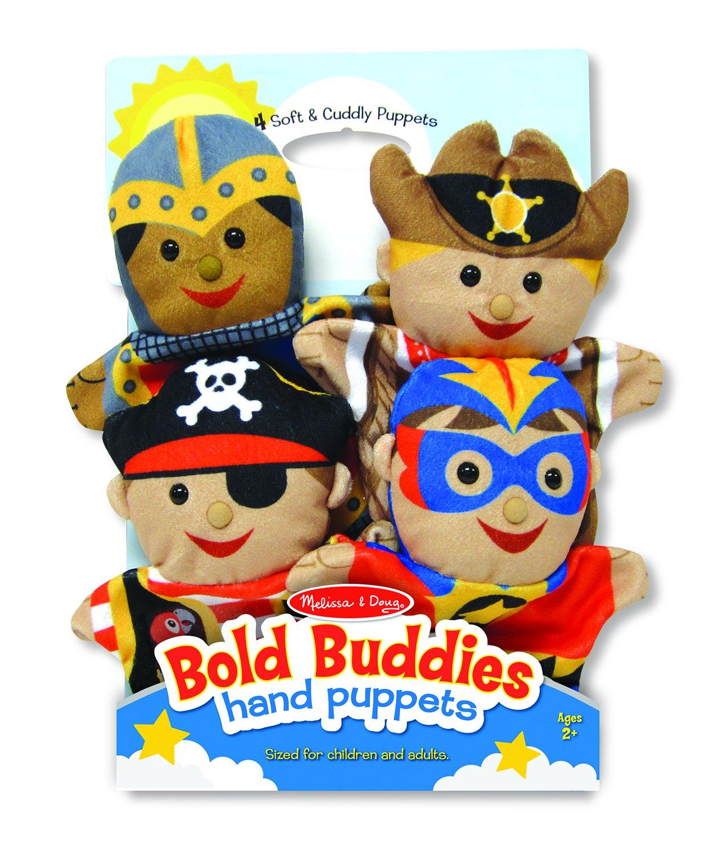 Melissa & Doug Bold Buddies Hand Puppets, Puppet Sets, Knight, Pirate, Sheriff, and Superhero, Soft Plush Material, Set of 4, 14'' H x 8.5'' W x 2'' L by Melissa & Doug