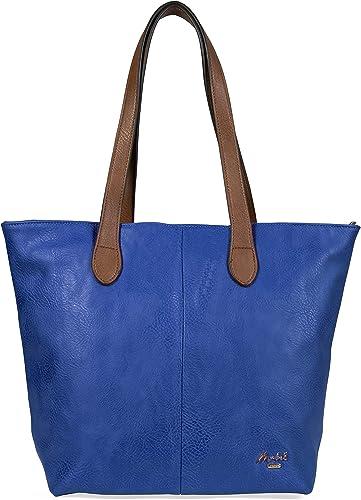 Big Handbag Shop Bolso de mano ligero y liso, con cremallera - Bolso de mano, suave, 100% vegano, cuero de PU para mujer