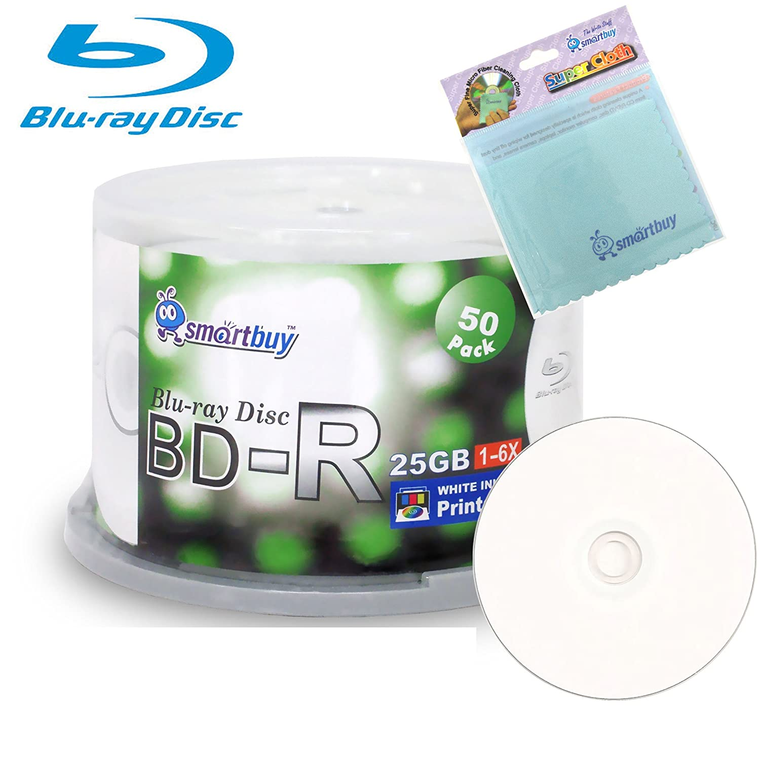 Smartbuy 50-disc 25GB 6x BD-R Blu-Ray White Inkjet Hub Printable Blank Media Disc + Free Micro Fiber Cloth Taiwan