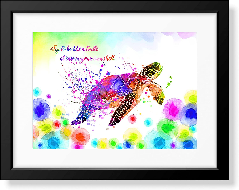 Uhomate Colorful Sea Turtle Sea Turtle Home Canvas Prints Wall Art Inspirational Quotes Wall Decor Living Room Bedroom Bathroom Artwork C056 (8X10)