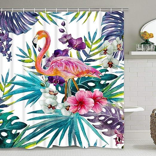 12 Hook Top Tropical Flowers Flamingo Bathroom Waterproof Fabric Shower Curtain