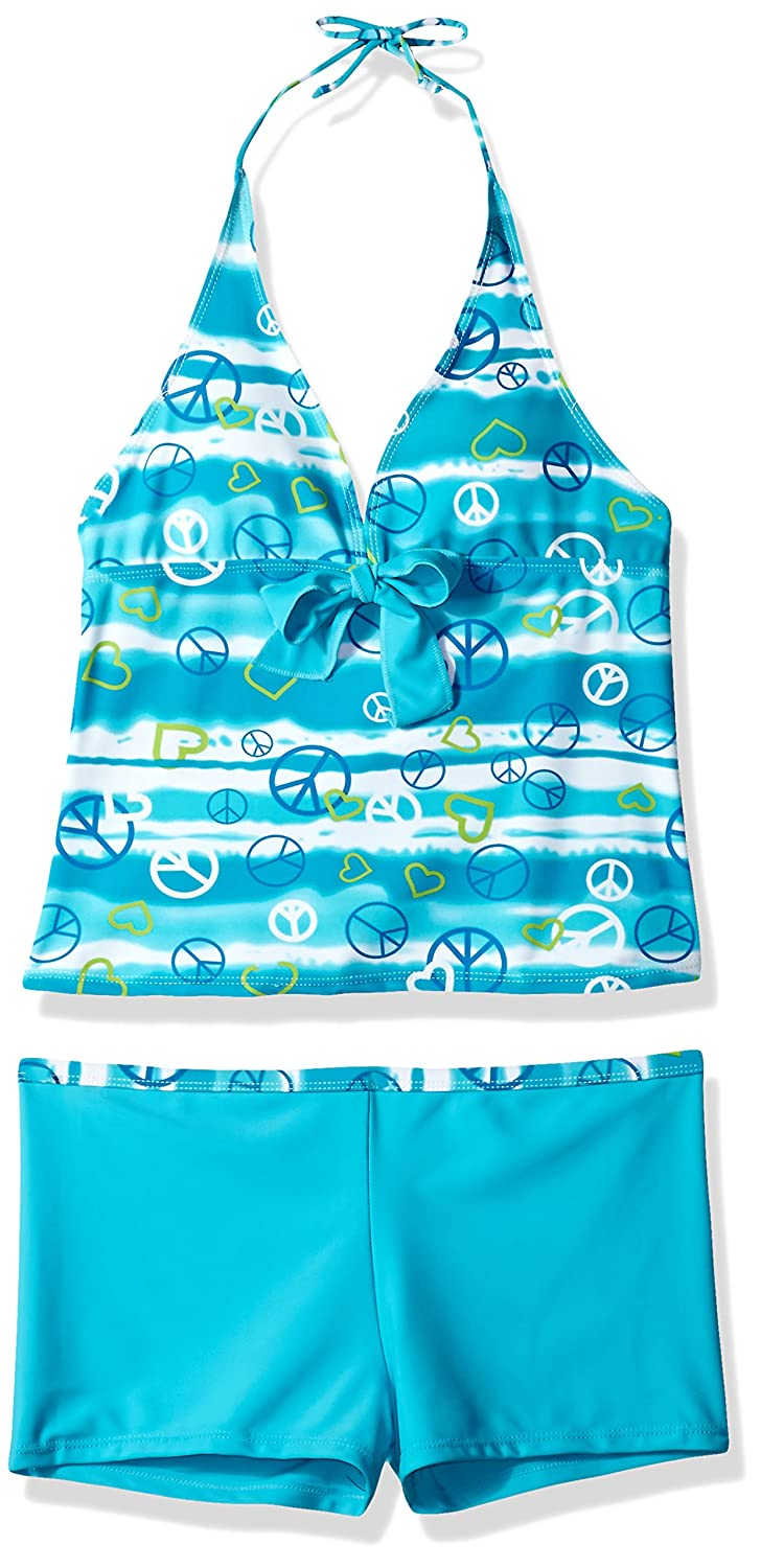 iEFiEL Big Girls Peace Signs Heart Print 2Pcs Tankini Swimwear Bathing Suit