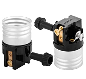 (2 pack) 3 way socket replacement for lamp, Medium Base Interior Only, Incandescent Lamp holder, Removable Turn Knob, 2-Circuit.