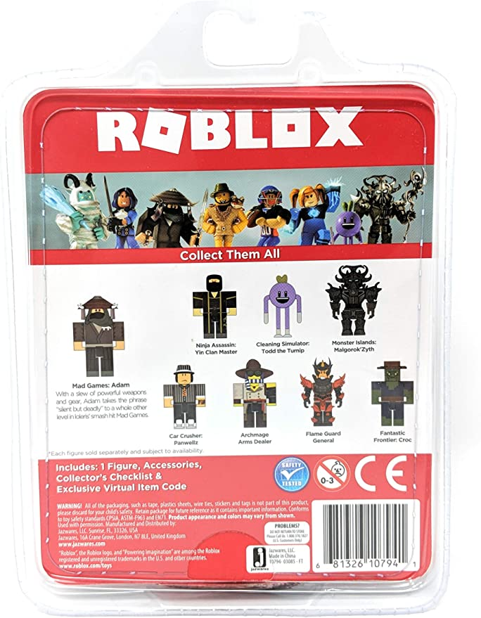 Adam Roblox Amazon Com Roblox Mad Games Adam Single Figure Core Pack With Exclusive Virtual Item Code Toys Games