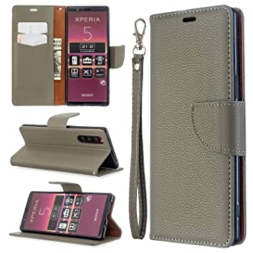Custodia® Capirotazo Billetera Funda para Sony Xperia 5 (Gris ...
