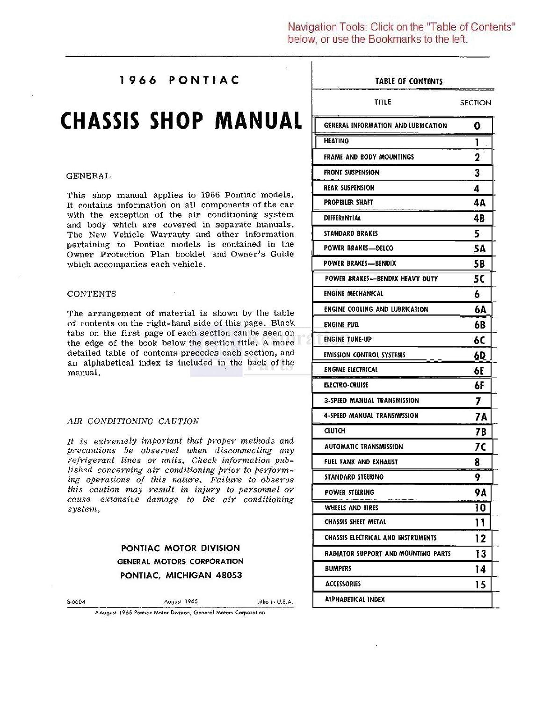 1966 Pontiac Bonneville Catalina Shop Body Manual Cd 27 Wiring Diagram Engine Electrical Guide Automotive