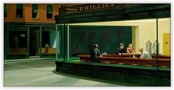 Cuadro en lienzo «Noctámbulos» de Edward Hopper, para decoración de pared, lona, 34