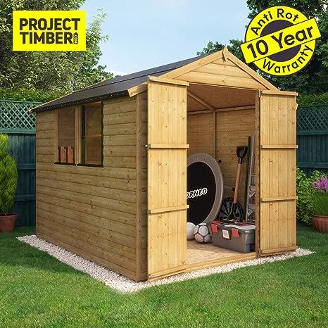Project Timber - Cobertizo de madera para jardín de 12 mm, con ventanas y puertas
