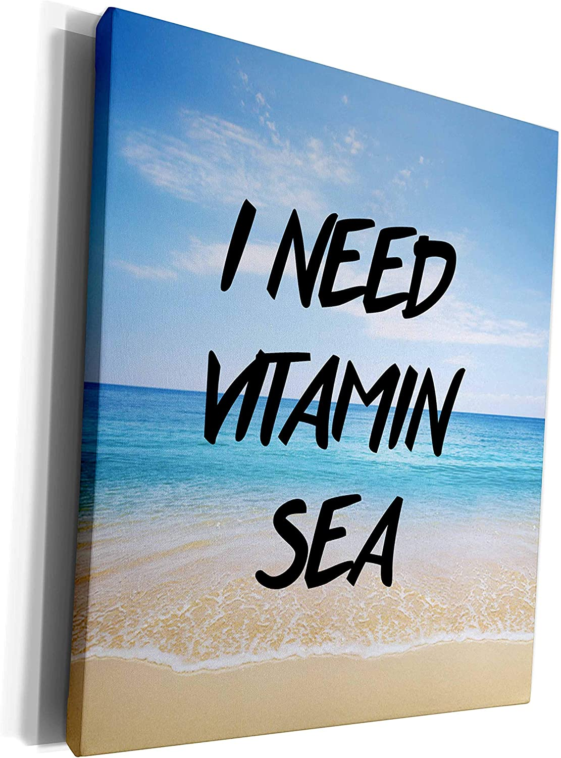 3dRose Tory Anne Collections Quotes - I NEED VITAMIN SEA - Museum Grade Canvas Wrap (cw_235377_1)